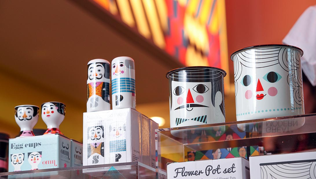 The Modern Artists range enamel plant pot set, egg cups, salt and pepper shakers