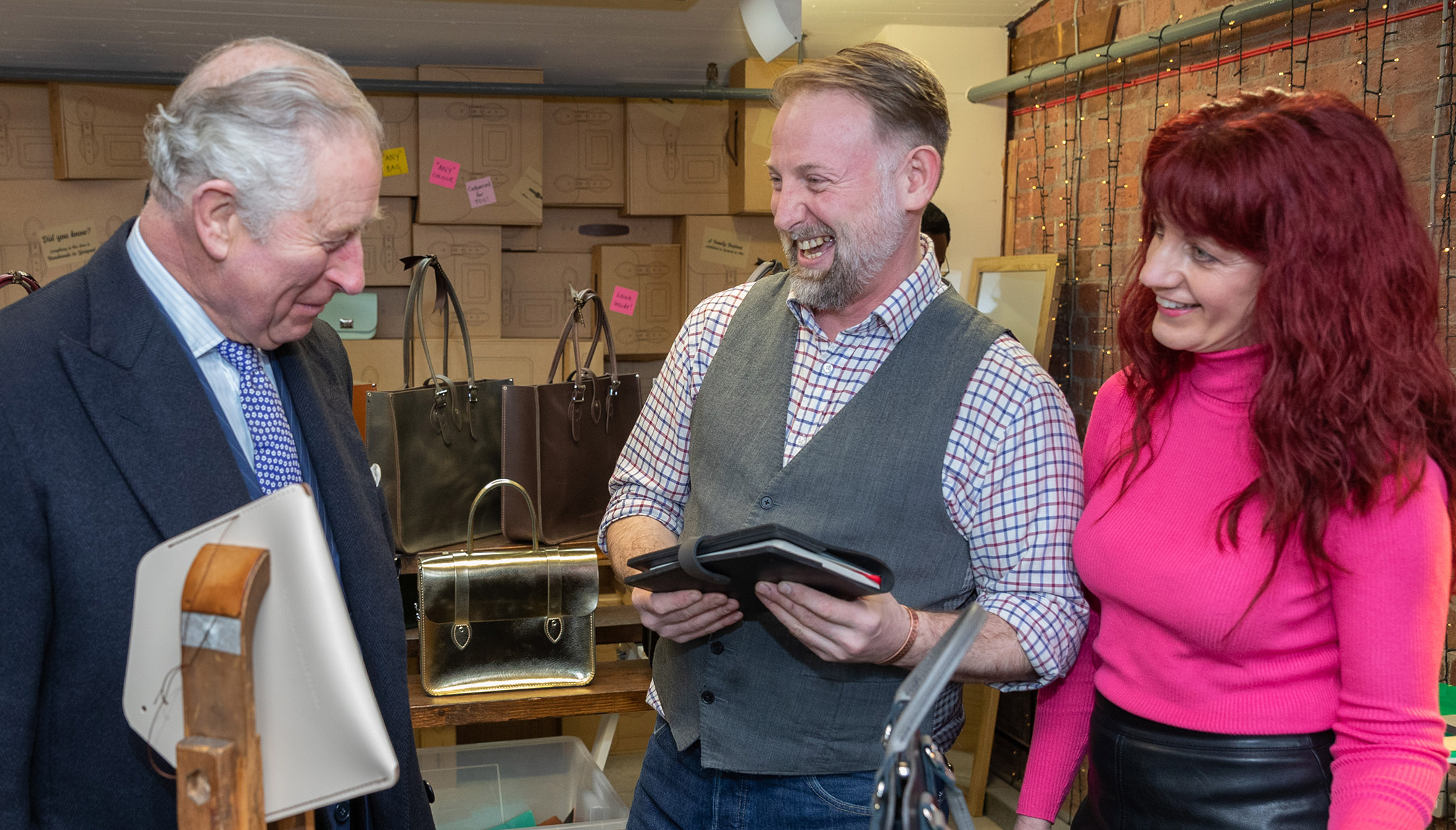 Kieth and Gail from The Leather Satchel Co meeting HRH