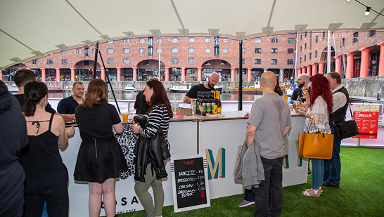 Bar at Royal Albert Dock Liverpool's pop up cinema